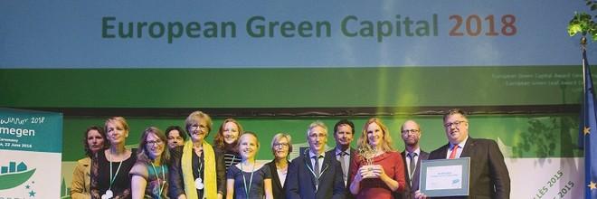 Nijmegen heeft de Green Capital Award 2018 gewonnen. In dat jaar mag de stad zich de groenste en duurzaamste stad van Europa noemen.