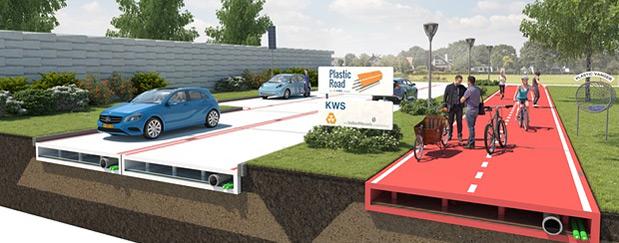 Een nieuw soort circulair wegdek, PlasticRoad, heeft volgens het bouwbedrijf veel voordelen ten opzichte van het reguliere asfalt.