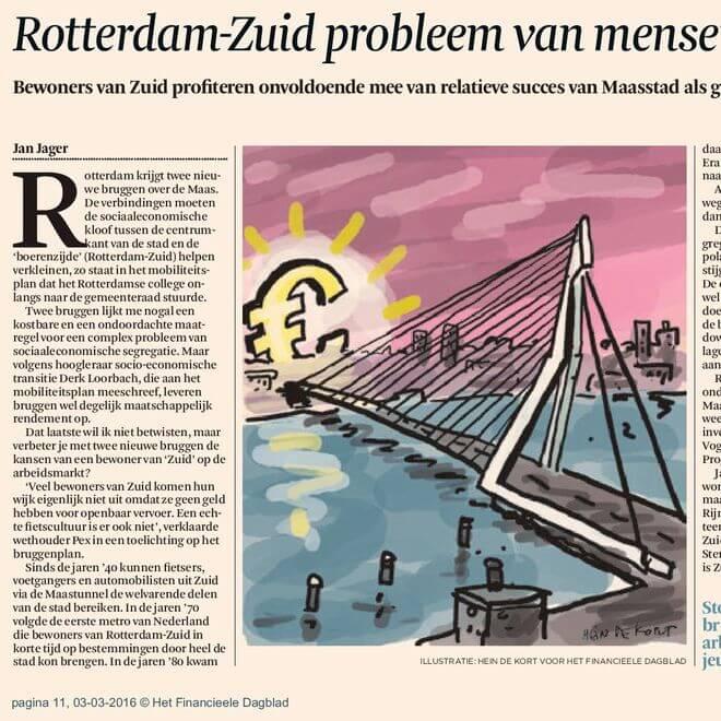 Twee nieuwe bruggen moeten de segregatie tussen Rotterdam-Noord en -Zuid verkleinen. Een verkeerde oplossing voor een complex probleem, stelt Jan Jager